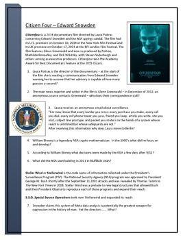 Edward Snowden - Citizenfour Documentary worksheets   Edward ...