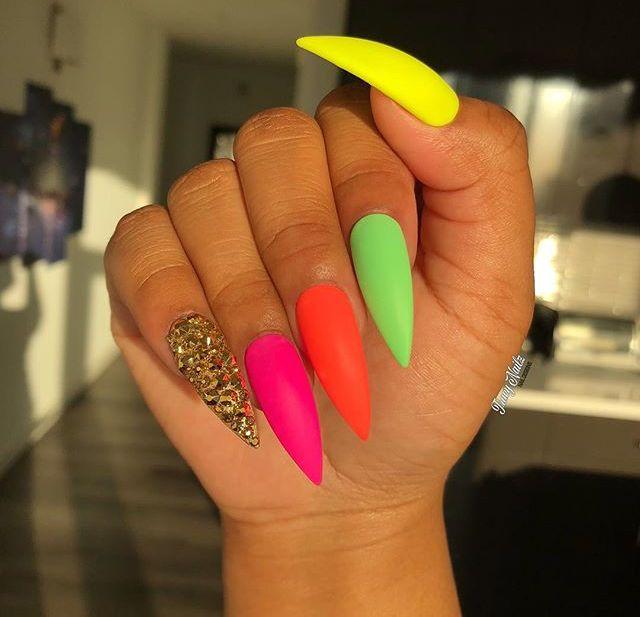 multi nail polish color stiletto's