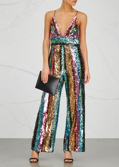 6ef202830ad Free People Margarita striped sequinned jumpsuit Disco Outfits