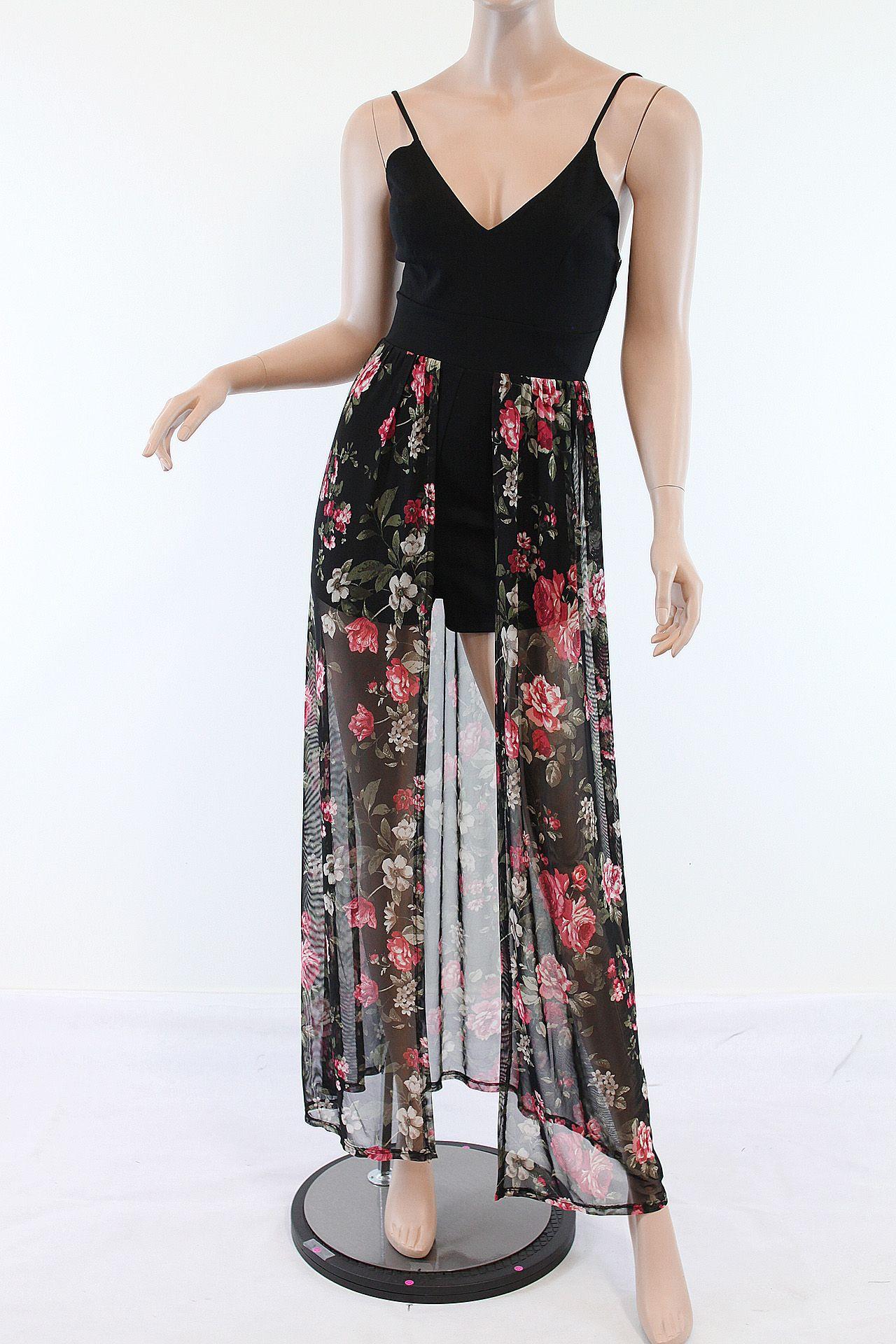 Floral print romper mesh long dress plus size lafestar