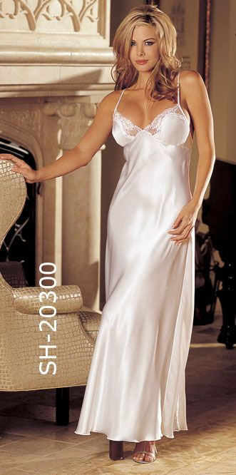 Shirley of Hollywood 20300 Charmeuse and Lace Long Night Gown in Black 57ed3b134