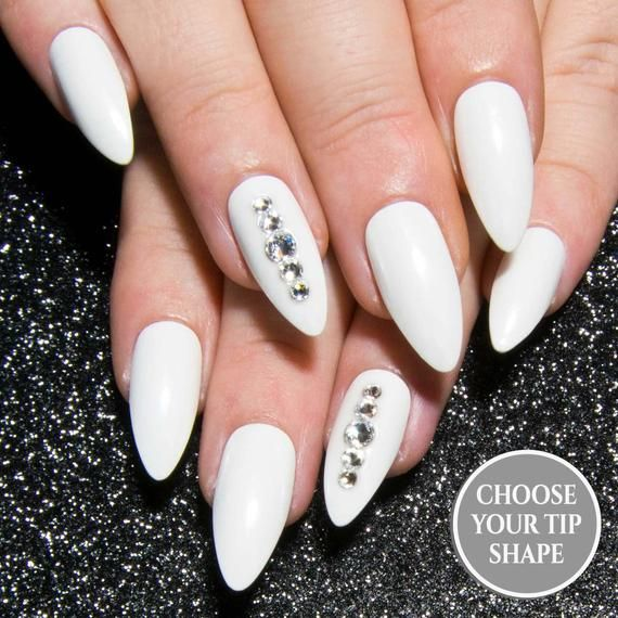 Photo of White Fake Nails – Chrome Press On Nails – Bridal Nails – Almond False Nails – Hand Painted Nails – Reflective Nails – Pearl Faux Nails