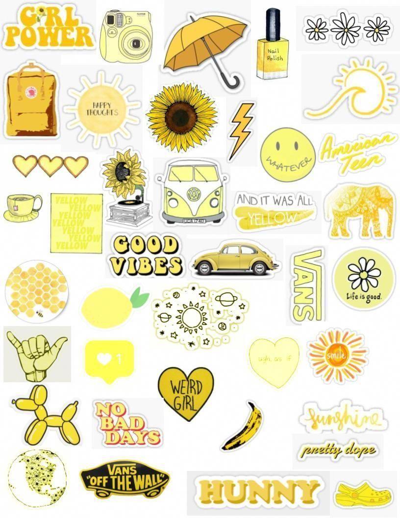 Madedesigns Yellow Tumblr Aesthetic Bright Pastel Color Sticker Pack Laptopsdiy Seni Buku Ide Menggambar Kartu Kertas