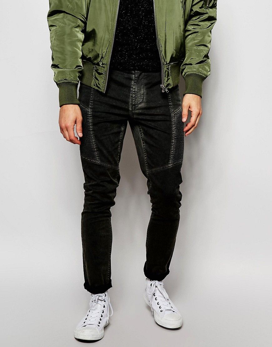 ASOS Super Skinny Trousers With Biker Style Panels In Acid Wash at asos.com