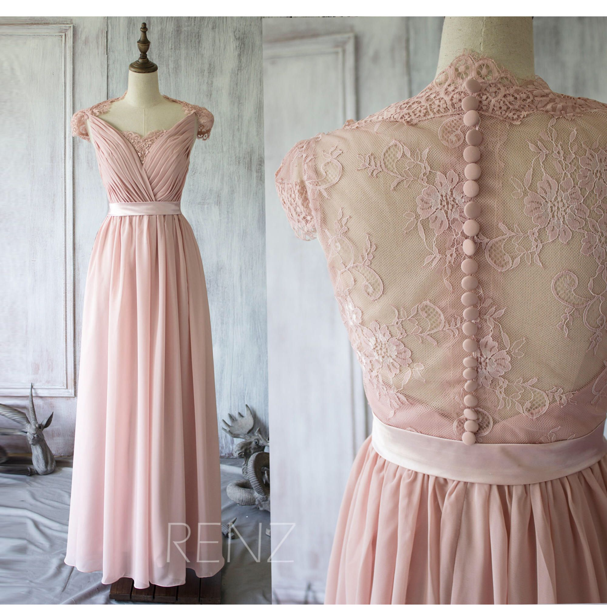 Blush chiffon lace bridesmaid dress cap sleeve wedding dress party