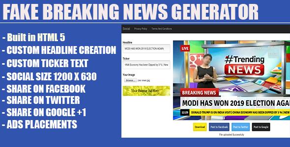 Fake Breaking News Headline Generator Fake News Headlines Face Book App Breaking News