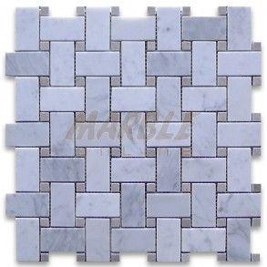 Best Carrara White 1X2 Basketweave Mosaic Tile W Gray Dots 400 x 300