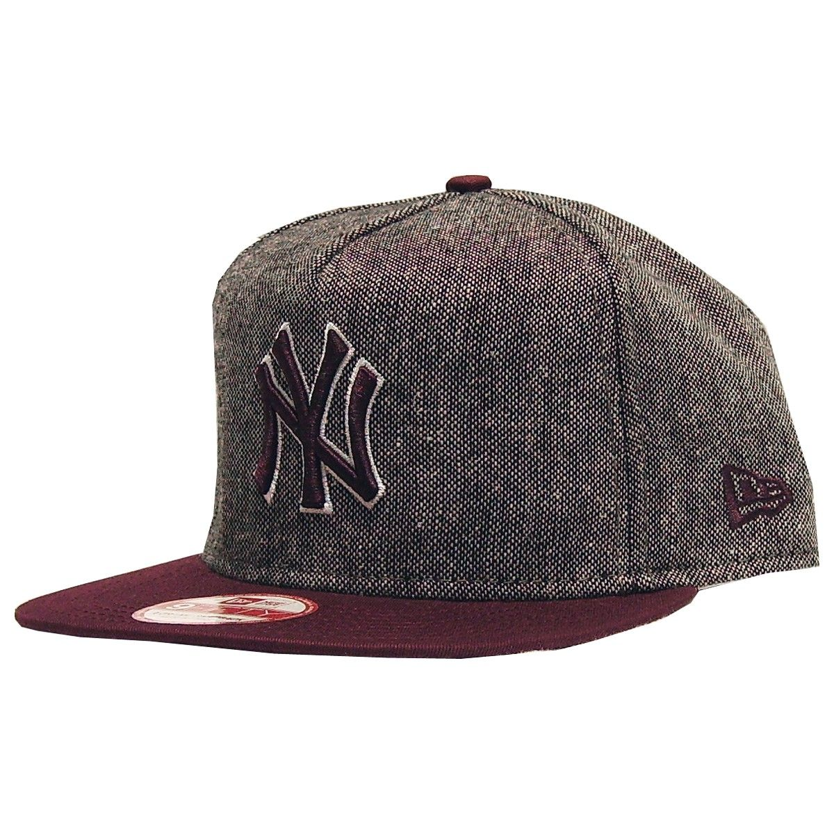 New Era cap tweed snapback New York Yankee tweed maroon