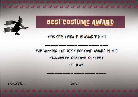 Halloween costume certificate of achievement template | Halloween ...