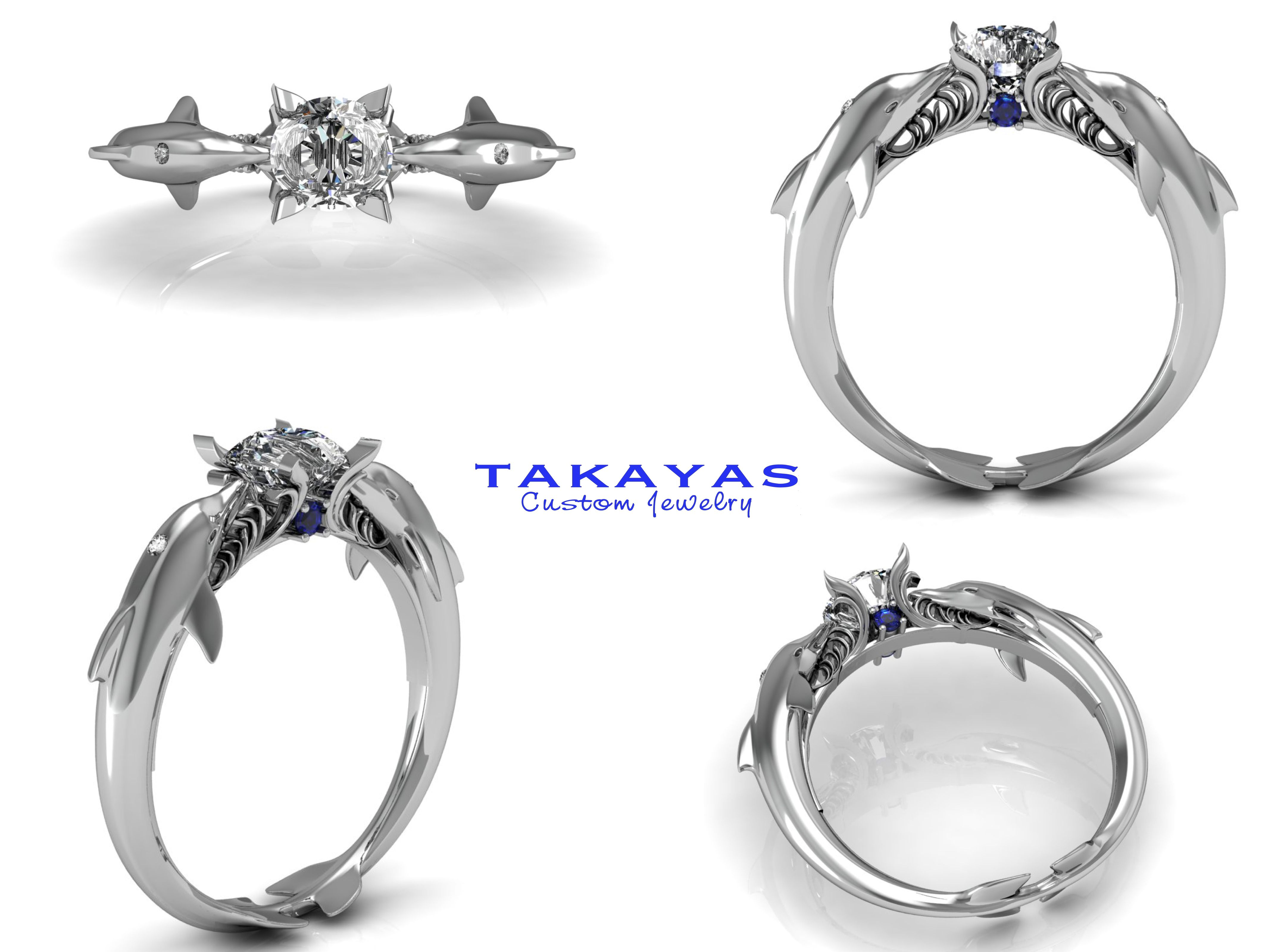 14k or platinum dolphin engagement ring by takayas custom jewelry - Dolphin Wedding Rings
