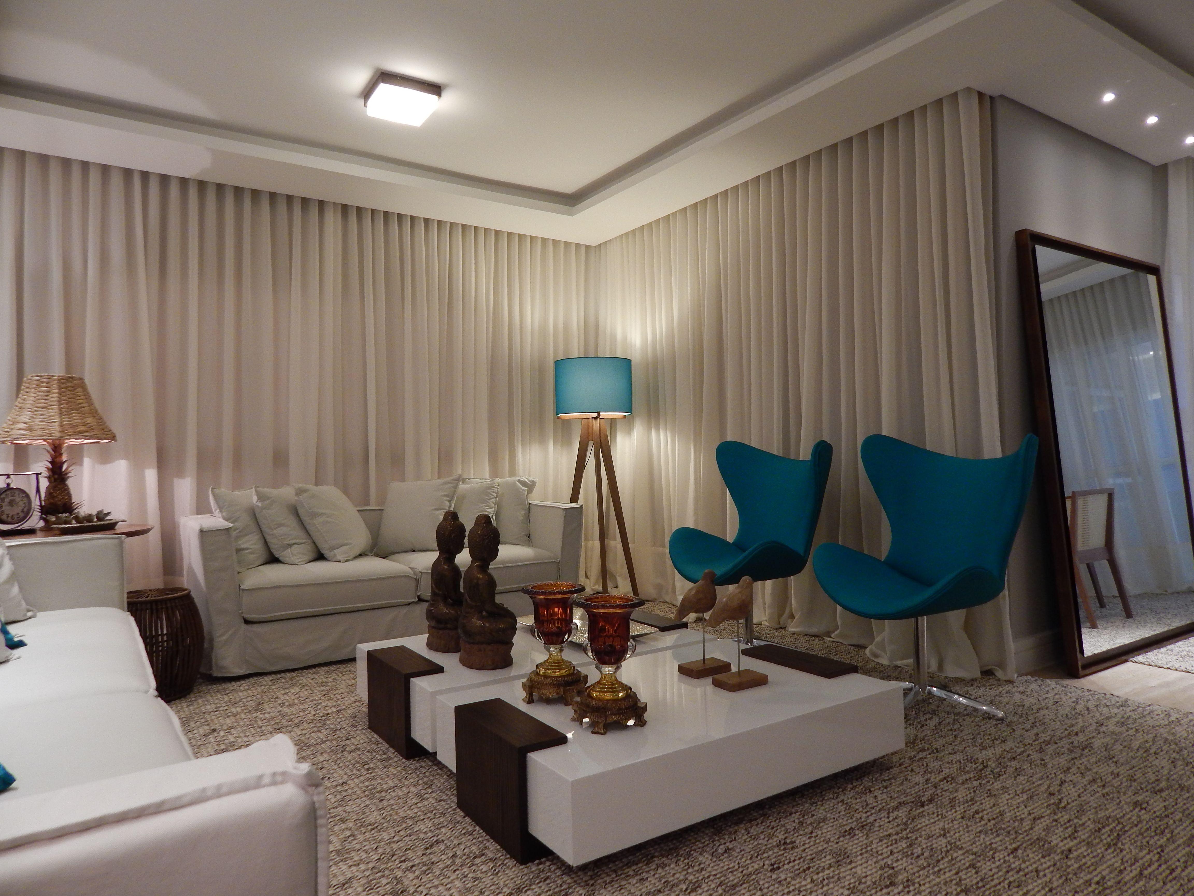 Sala de estar 2014 arquiteta barbara panassi azul - Cortinas turquesa ...