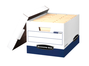 Bankers Box® R-Kive® - Letter/Legal, White/Blue - Heavy-duty, triple end, double side, double bottom construction stacks up stronger and withstands frequent handling. FastFold® quick and easy assembly. Reinforced tear-resistant hand holes make box comfortable to carry. Deep, locking lift-off lid stays in place for secure file storage. Smooth rolled edges add strength and prevent paper cuts.