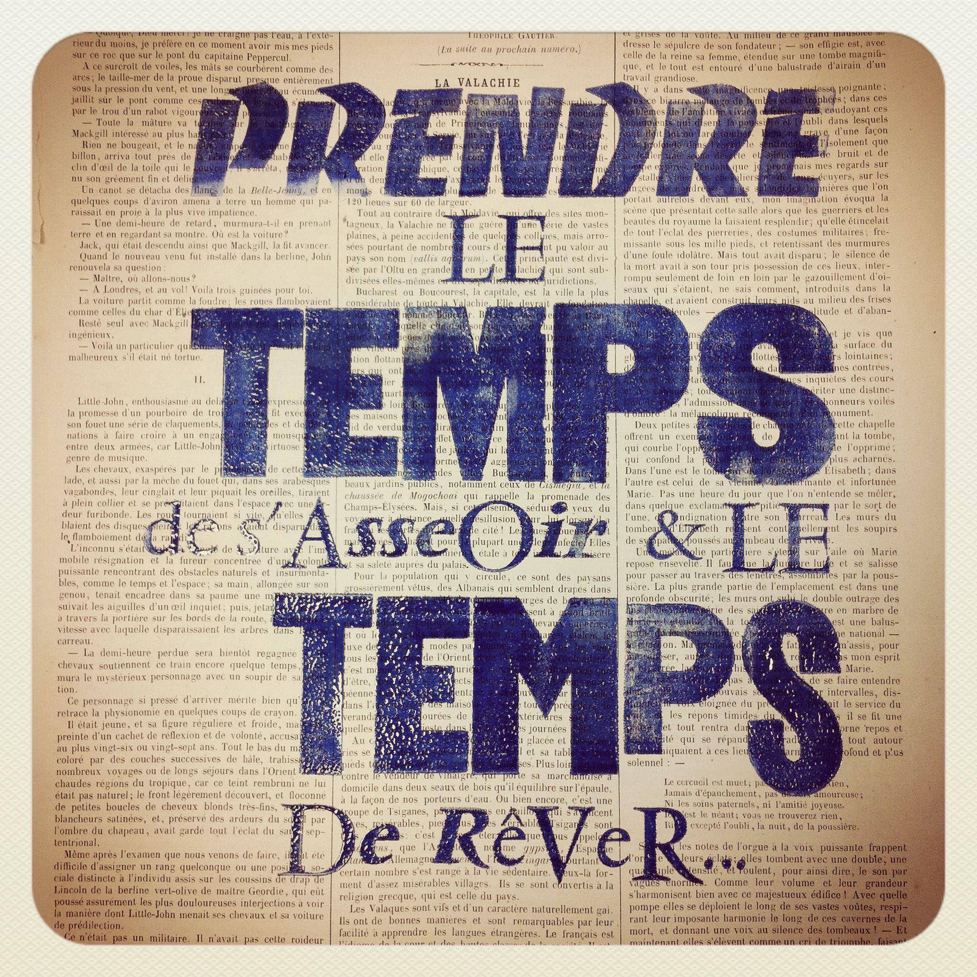 Impression Typographique Prendre Le Temps De S Asseoir Le