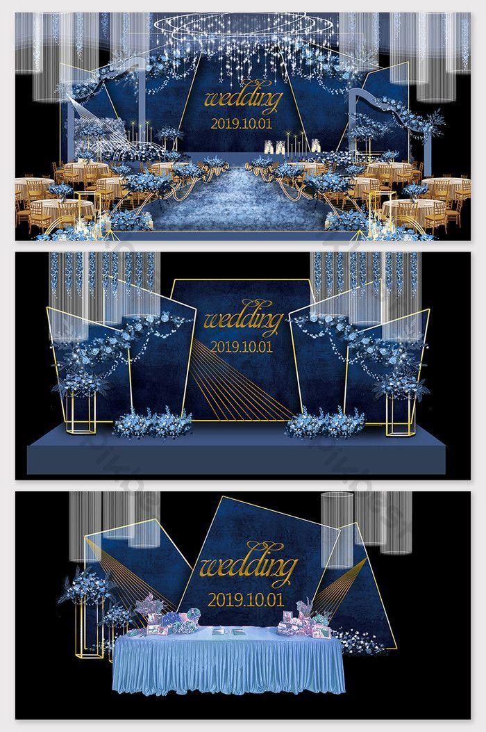 Wedding reception backdrop - Modern minimalist blue dream ...
