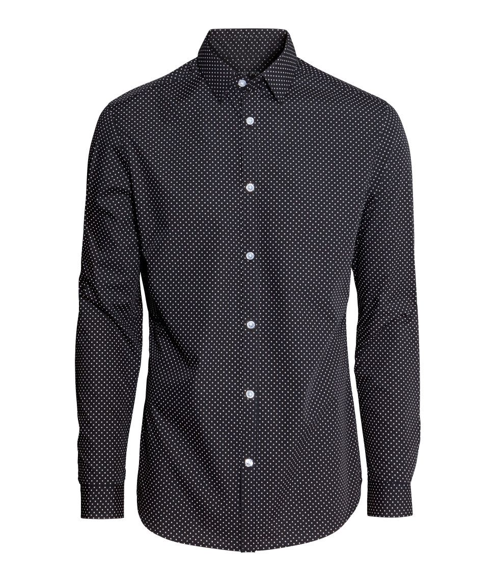 54932376a294 Classic slim-fit shirt with long sleeves, easy-iron finish, and black &  white dotted pattern. | H&M Men