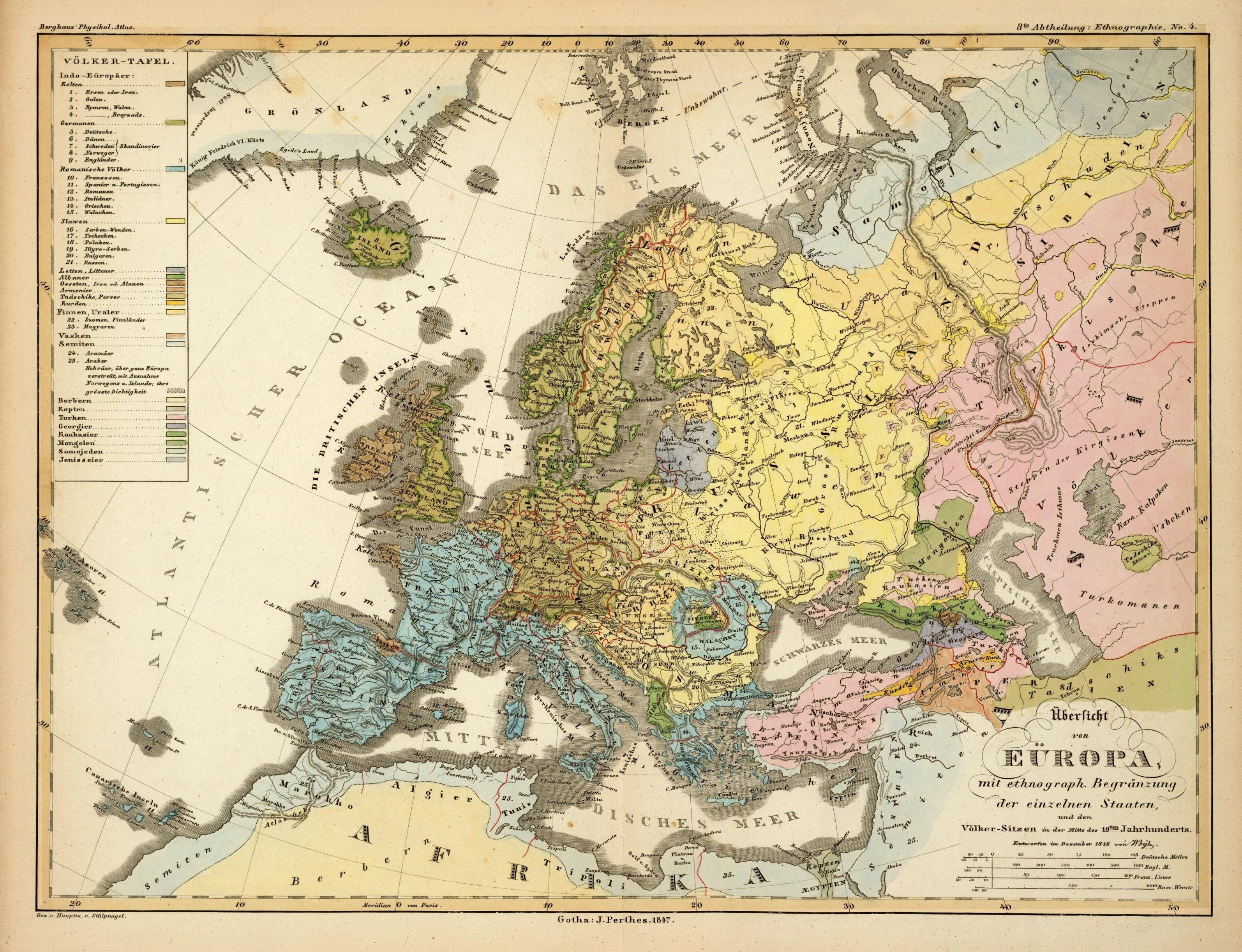 Ethnic map of Europe in German 1847 #map #europe #demography | World ...