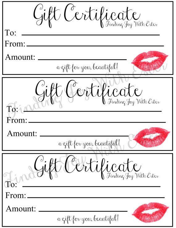 Custom Lipsense Gift Certificate  Gift Certificates Certificate