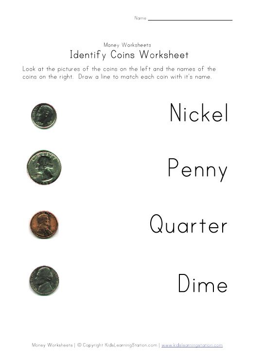 Coin Names Worksheet: Quarter, Dime, Nickel and Penny | K-2 Math ...