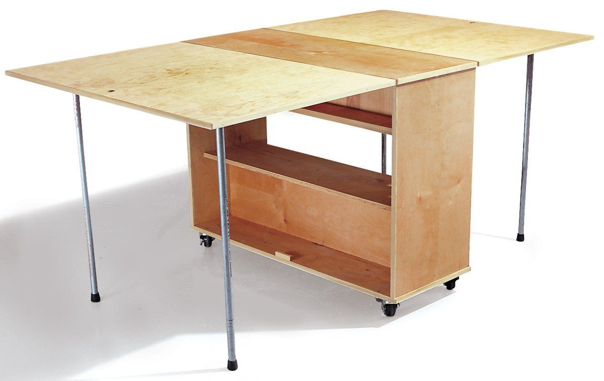How To Build A Compact Folding Workbench With Storage In 2020 Folding Workbench Craft Room Tables Workbench With Storage
