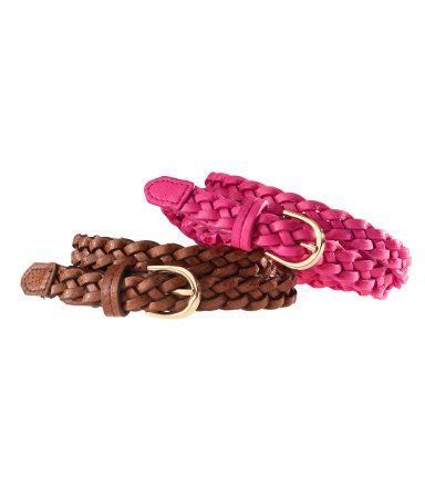 leather belts pink & brown
