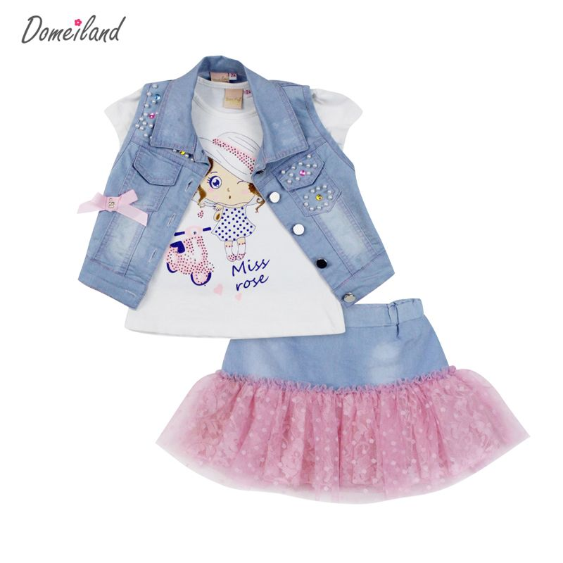 9f296a108ce6f Awesome 2017 fashion domeiland summer children clothing sets girl Denim  short vest jackets cotton kids cartoon tops skirt suits clothes - $33.38 -  Buy it ...