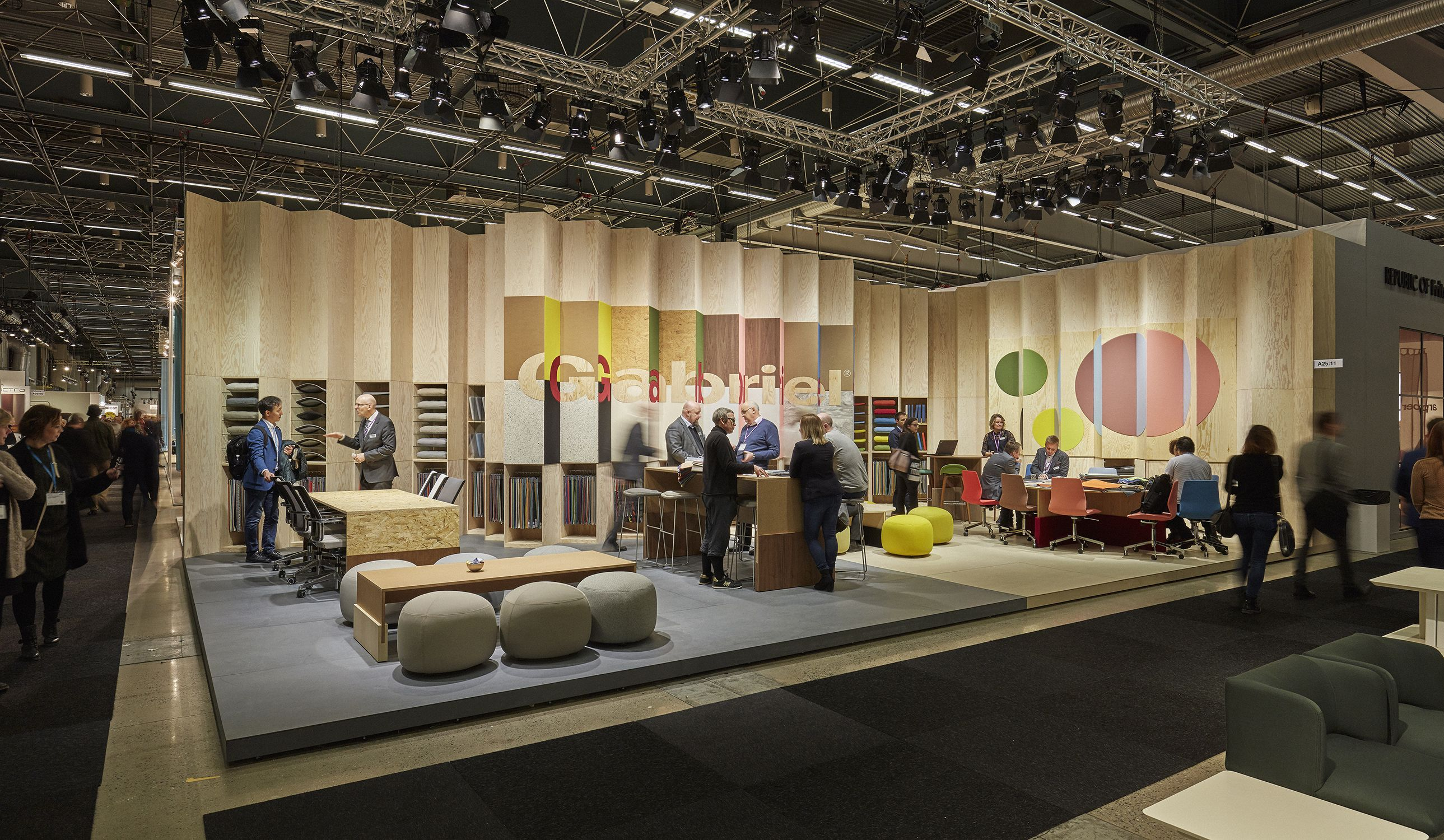 exhibition stand displaying furniture textiles for gabriel