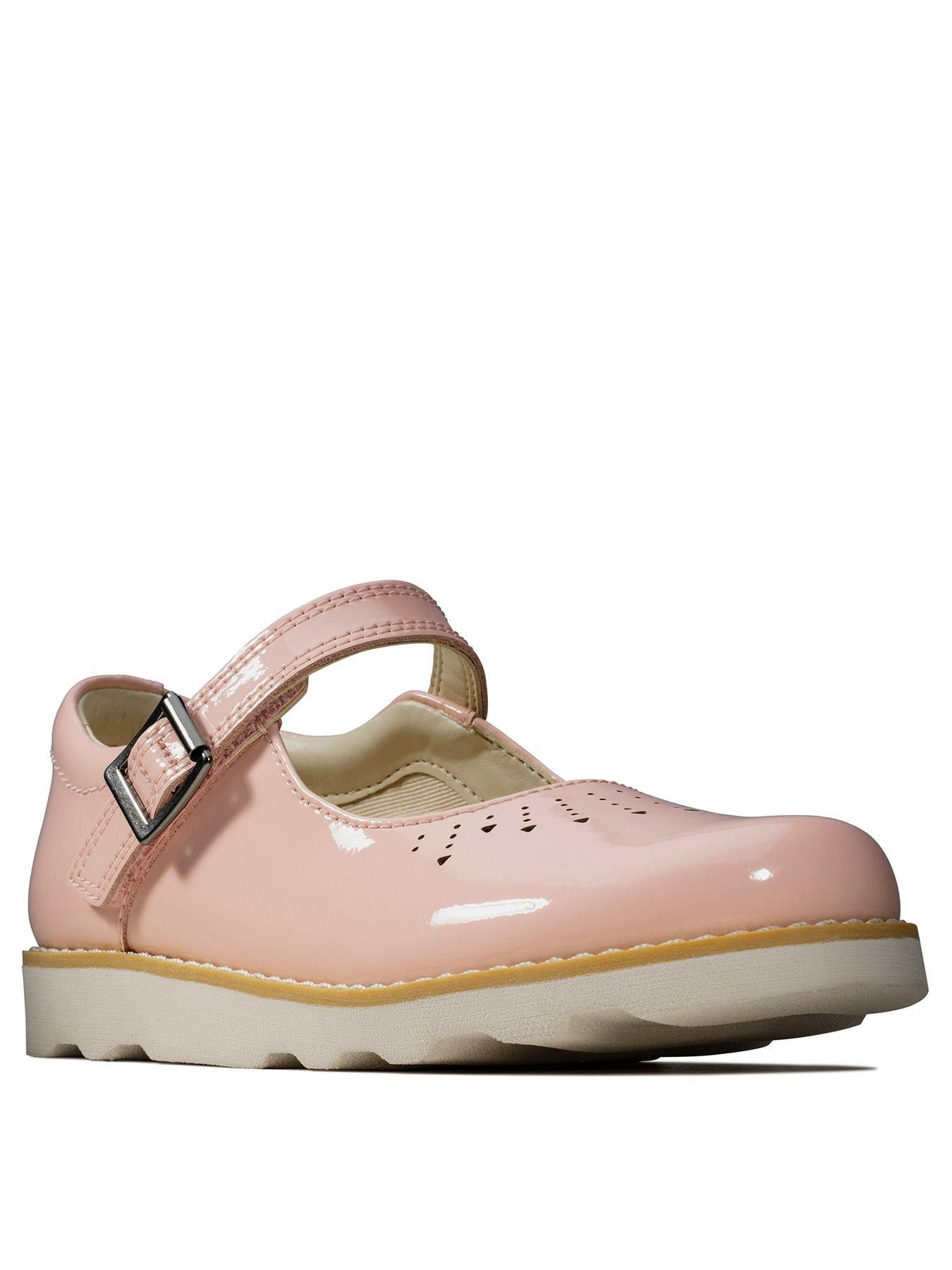 GIRLS CLARKS PATENT SHOE CROWN JUMP