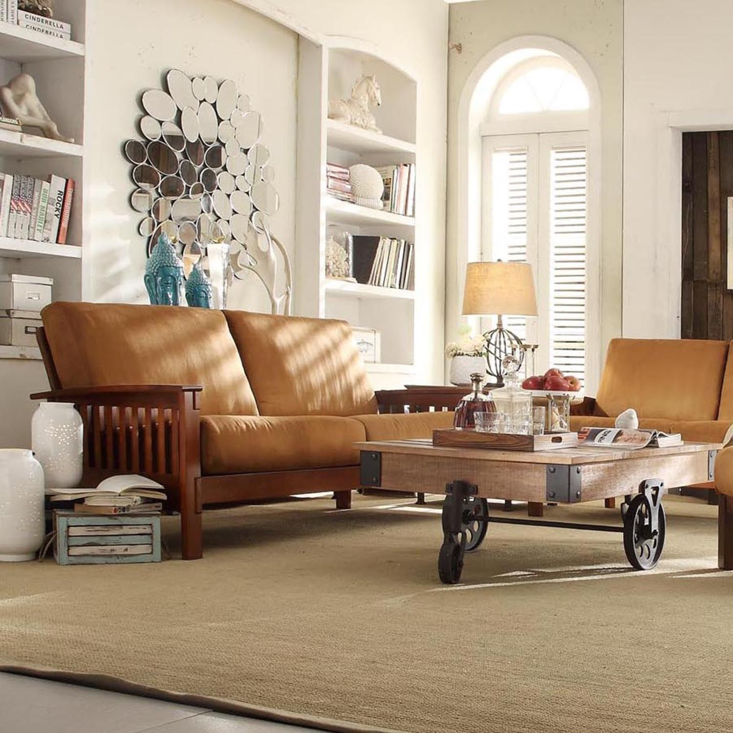 Tribecca Home Hills Mission style Oak Sofa Free Shipping Today