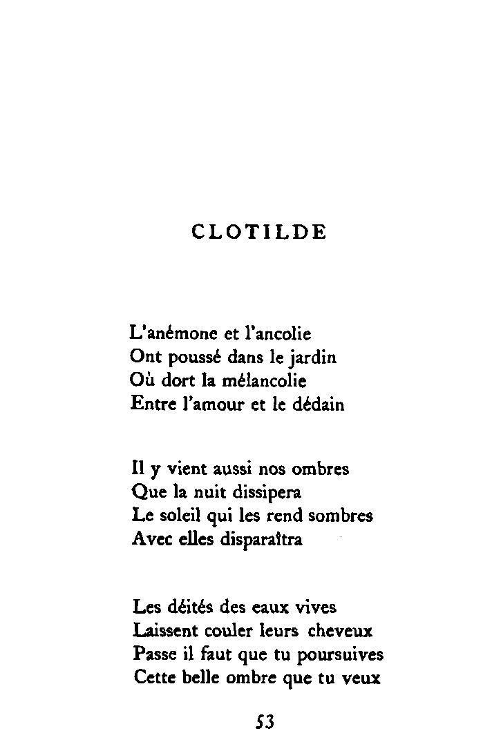 Apollinaire Alcools Clotilde Poeme Et Citation