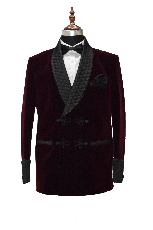 Men Purple Smoking Jackets Elegant Designer Quilted Lapel Dinner Party Blazers