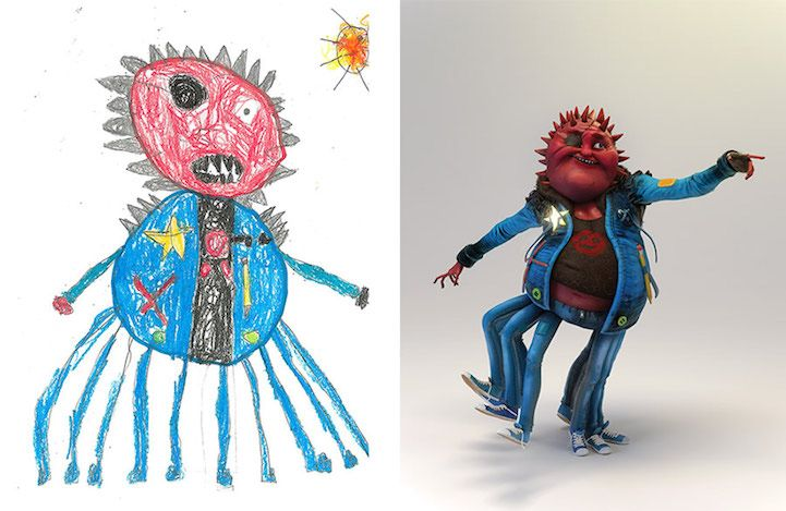 Artists Give New Life To Children S Monster Drawings To Encourage
