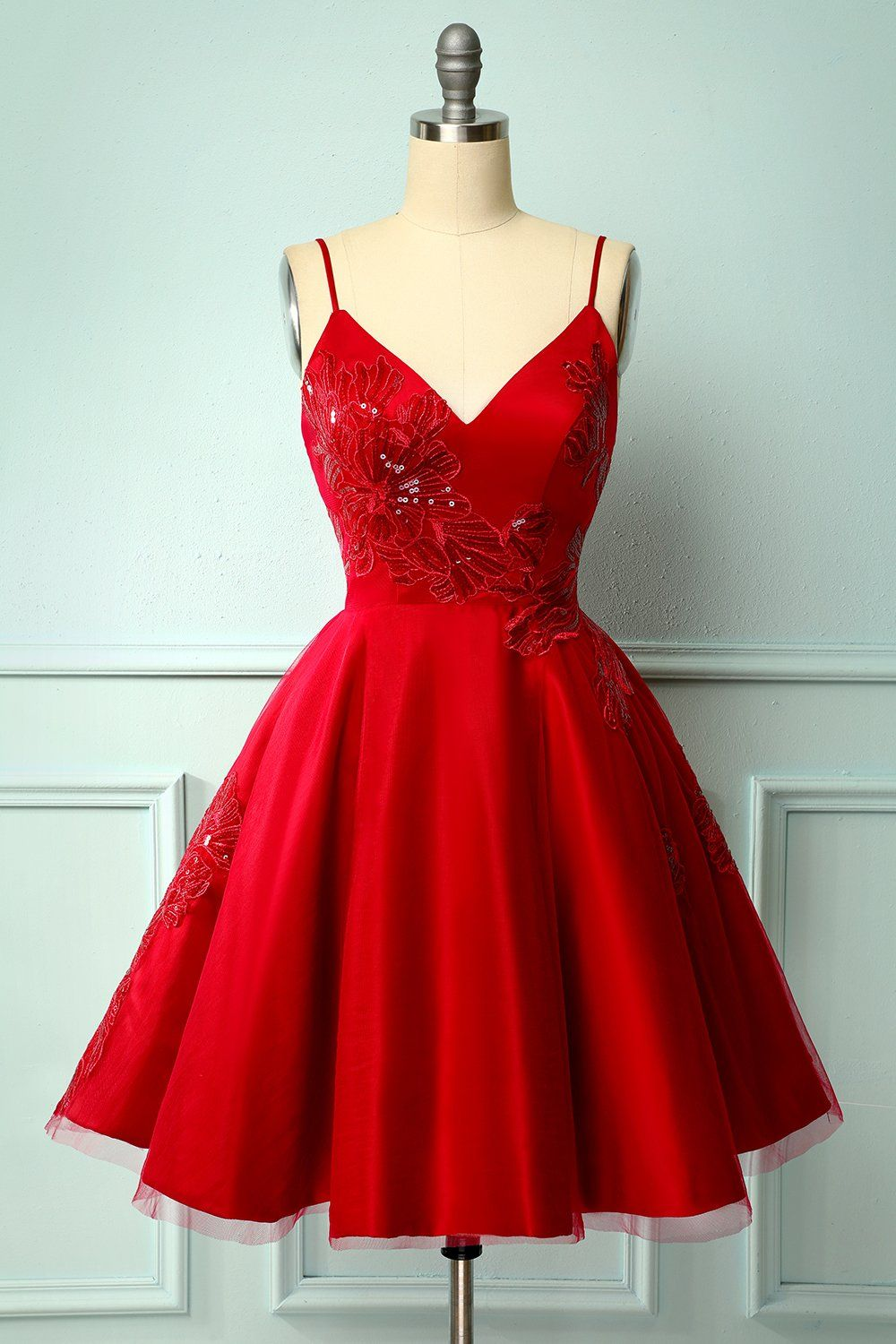 Red A-Line Prom Party Dress with Spaghetti Straps