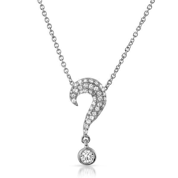 Sterling silver cz question mark necklace pretty charms sterling silver cz question mark necklace pretty charms pinterest question mark and sterling silver aloadofball Choice Image