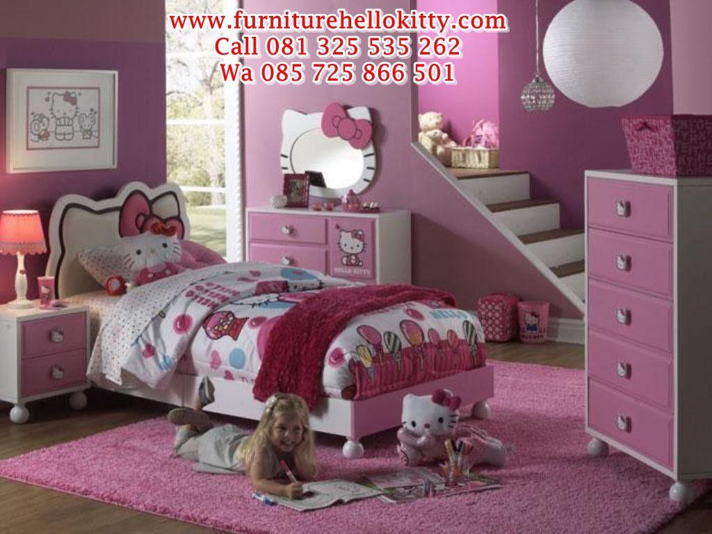 desain bentuk tempat tidur hello kitty, desainer gambar set tempat