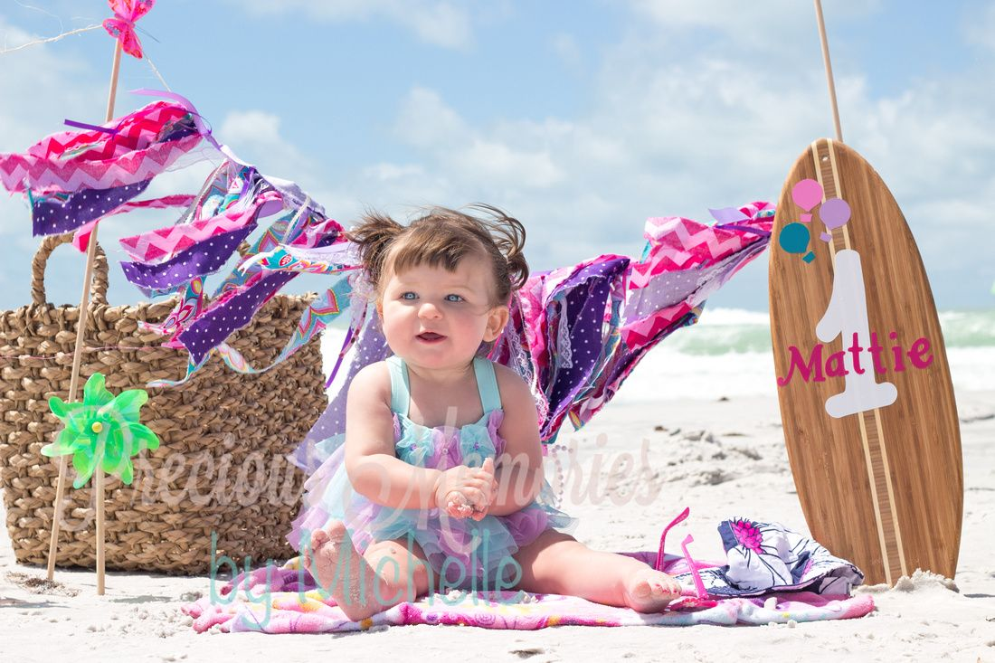 beach baby , first birthday, birthday girl, boogie board