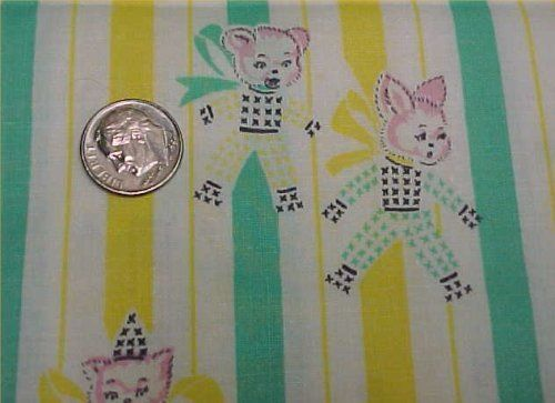 Antique Cotton Quilt Doll Fabric Bunny Bear Novelty Animal 30s