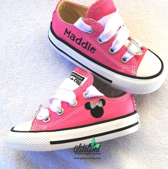 ef79416f058d Toddler Minnie Mouse Converse Chuck Taylor Canvas Sneakers Personalized  with Name Many Colors Available  CustomBabyConverse  ToddlerMickeyMouse ...