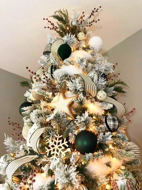 Farmhouse Christmas Tree #ribbononchristmastreeideas