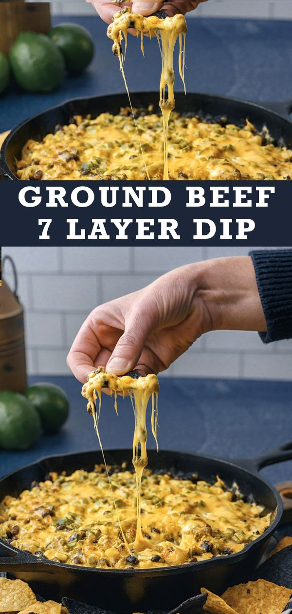 Beef up the ultimate party appetizer with this one-skilled ground beef 7 layer dip. #groundbeeftacos