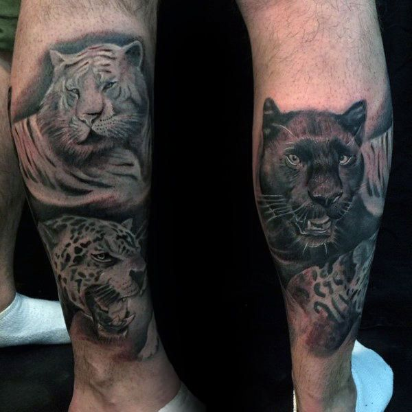 Mens Lower Leg Leopard Big Cat Tattoo Designs Cat Tattoo Designs Big Cat Tattoo Cat Tattoo