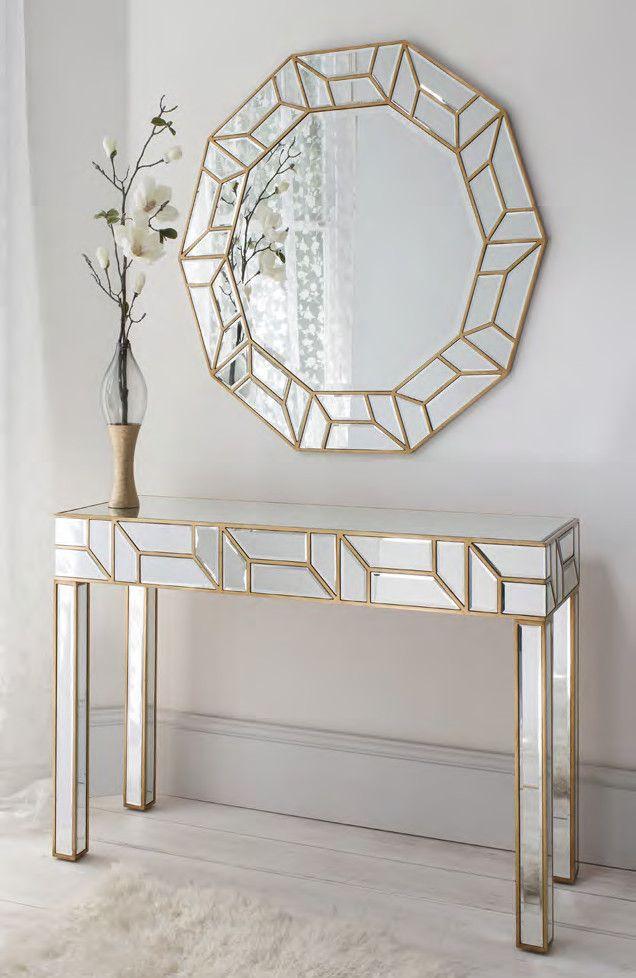 Geometria Gold Mirrored Console Table Mirror Set Mirror Wall