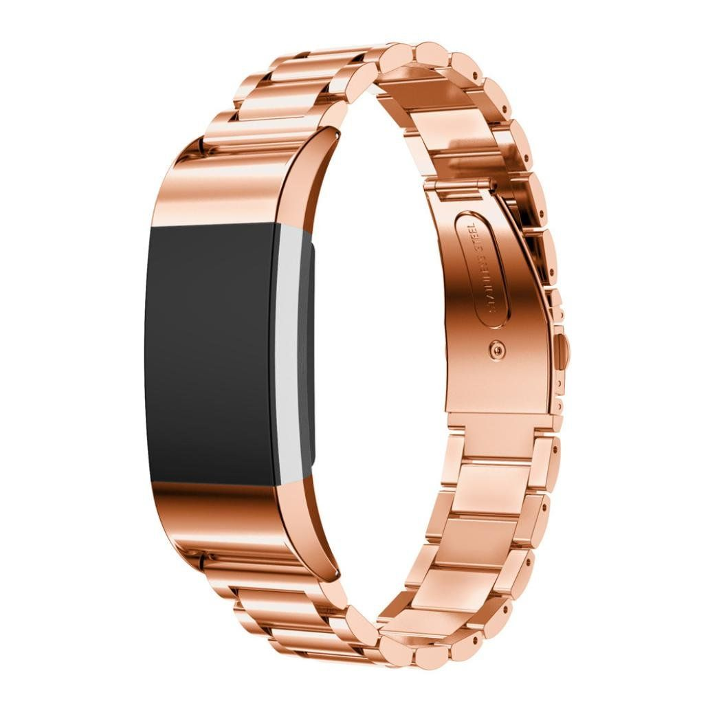 Malloom Luxury Women Men Stainless Steel Watch Band Strap Bracelet For  Fitbit Charge 2 (rose