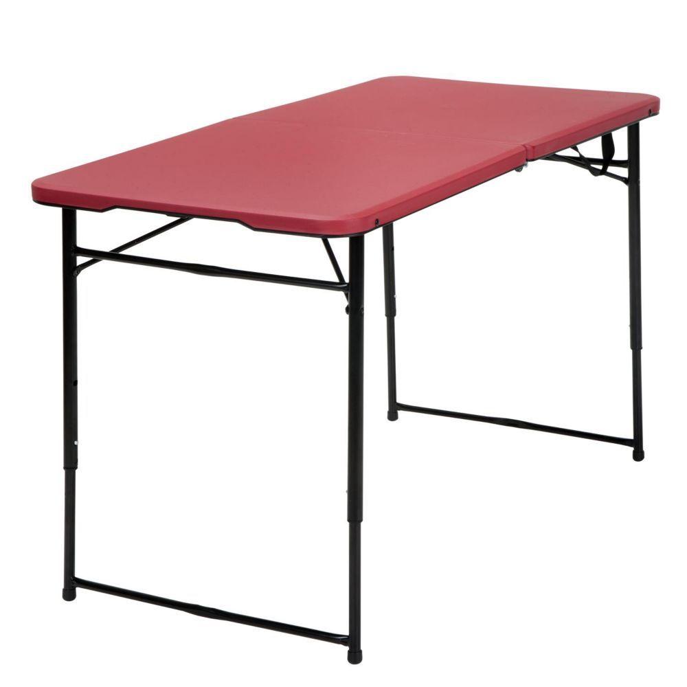 - 4 Feet Indoor Outdoor Adjustable Folding Table, Red (mit Bildern