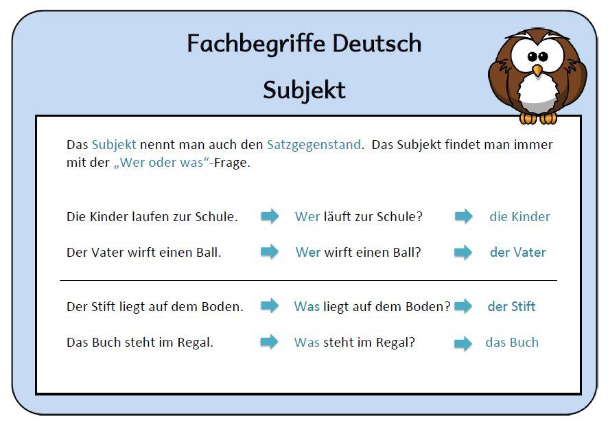 merkplakat+subjekt   kreadeutschgrammatik   Pinterest   Deutsch and ...