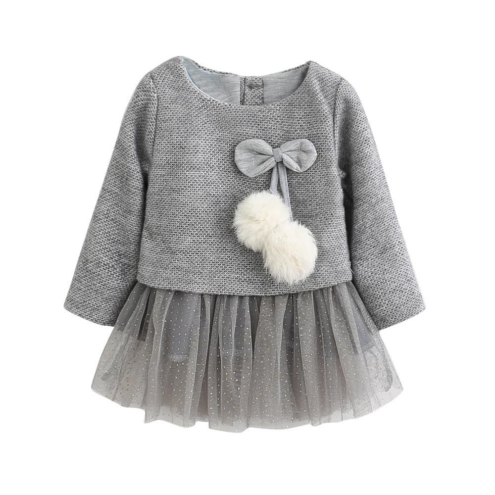 8fd53c9d0 Toddler Baby Kid Girls Long Sleeve Knitted Bow Newborn Tutu Princess ...