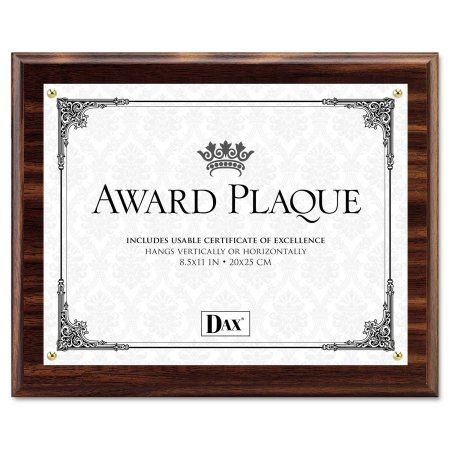 Dax Award Plaque Wood Acrylic Frame Up To 8 1 2 X 11 Walnut Brown Products Award Plaques Acrylic Awards Frame