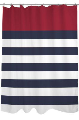 Bentin Home Decor Nautical Stripes Shower Curtain 71 By 74 Inch Red Navy WhiteAmazonHome Kitchen