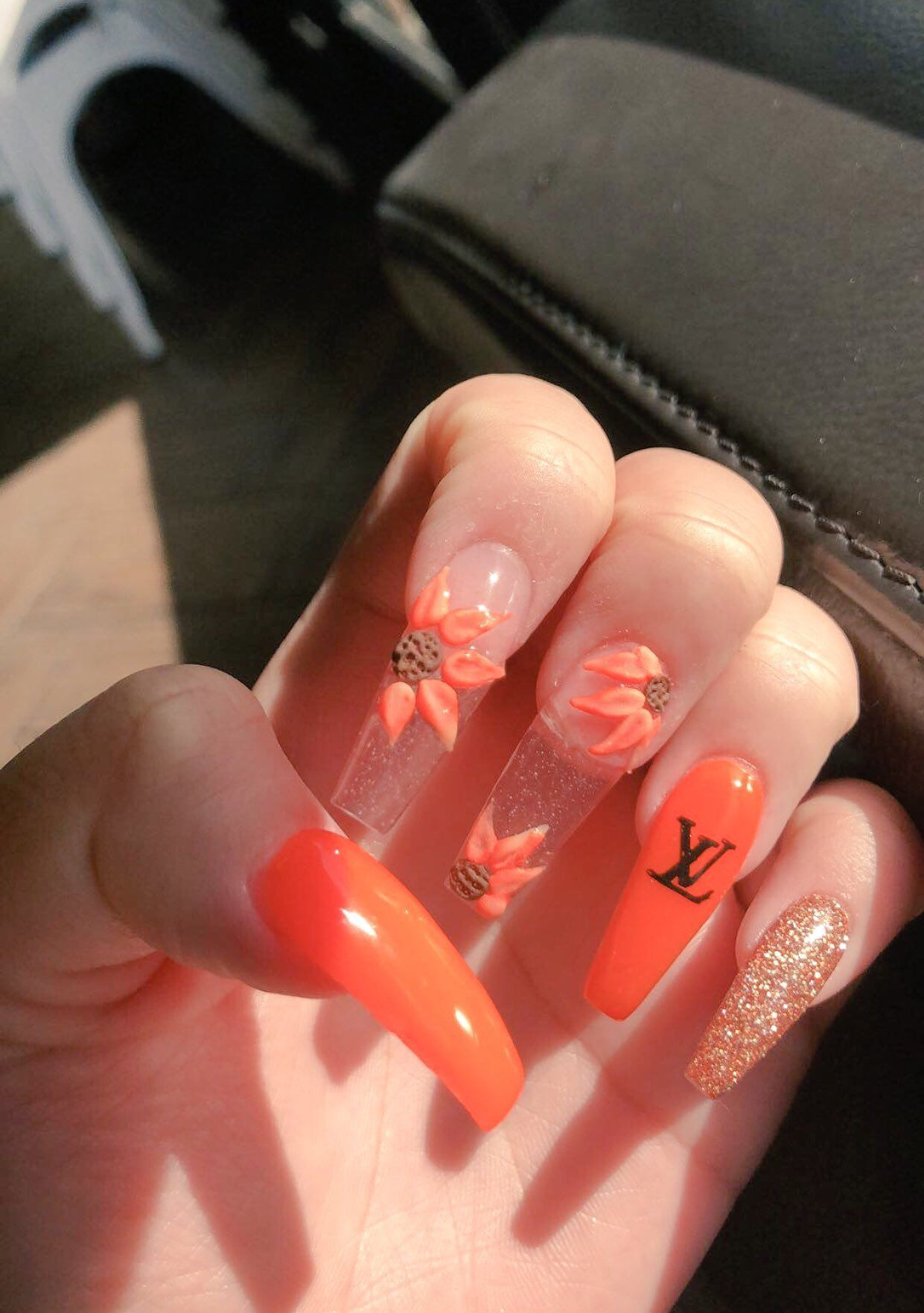 Avry On In 2020 Stylish Nails Orange Nails Perfect Nails