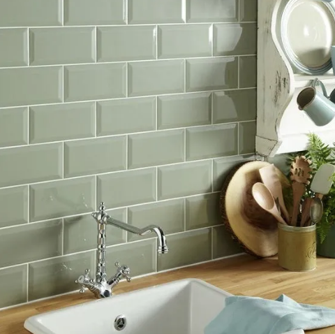Sage Green Metro Kitchen Tiles Country Style Kitchen Kitchen Wall Tiles Green Kitchen Walls Kitchen Remodel Countertops