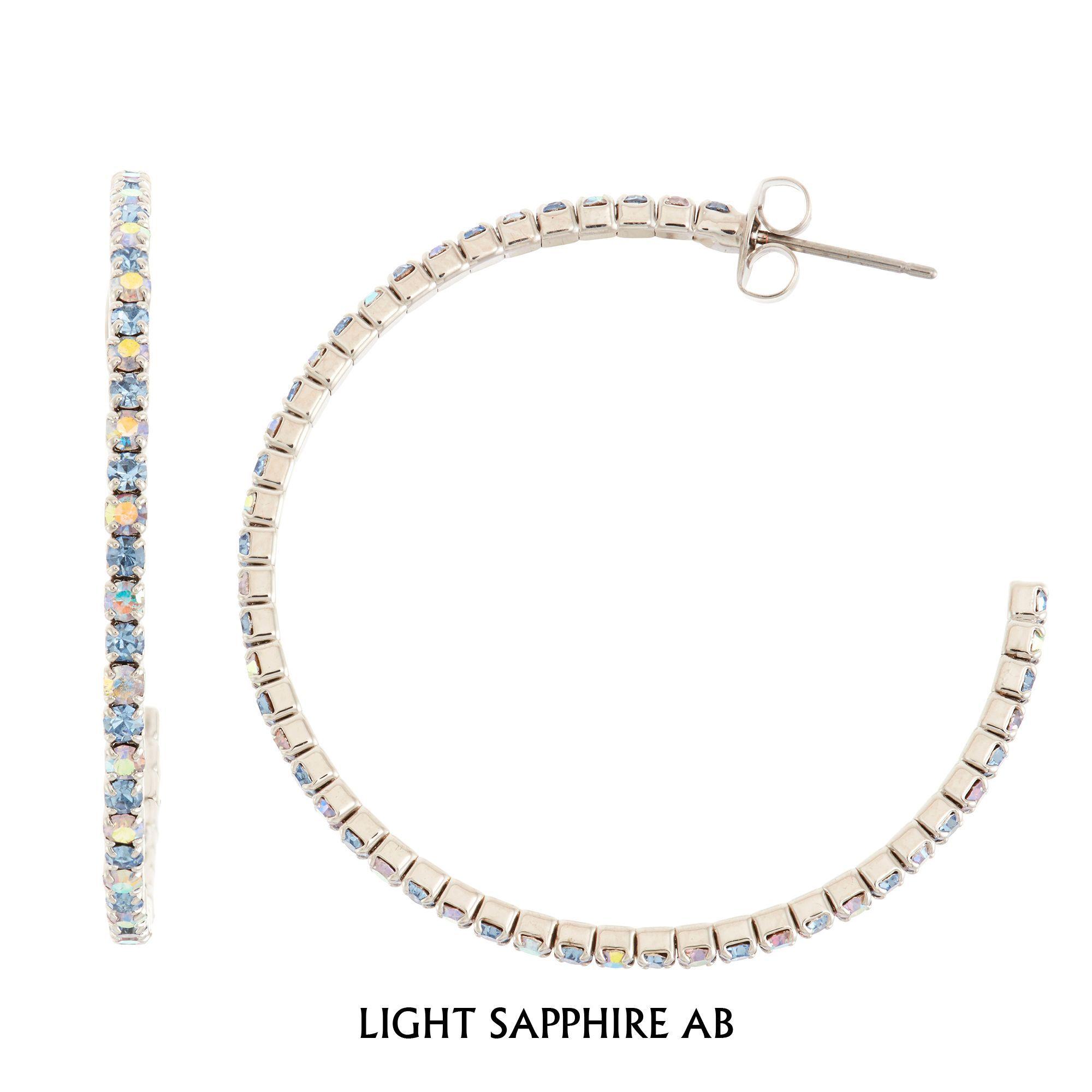 Isla Simone Rhodium Plated 45mm J-Hoop Earring with Alternating Crystal (